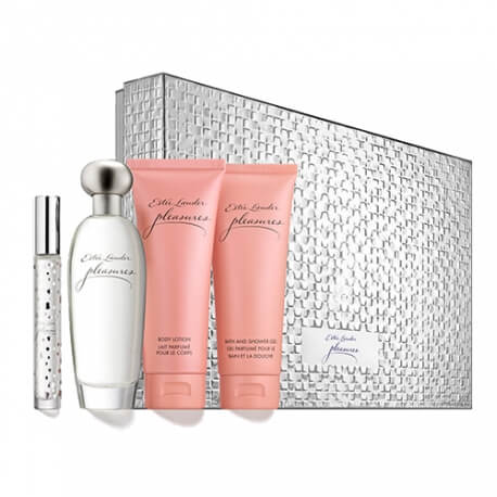 estee lauder coffret pleasures 3 produits eau de parfum pas cher. Black Bedroom Furniture Sets. Home Design Ideas